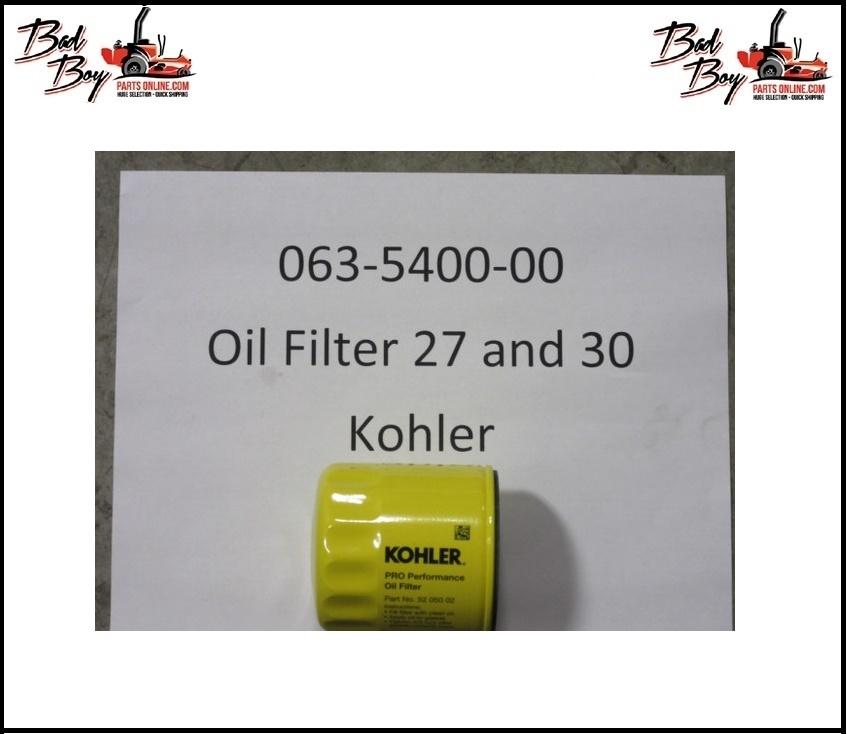 Oil Filter - 27 & 30 Kohler - Bad Boy Part # 063-5400-00