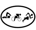 Oval Decal, Triathlon Figures