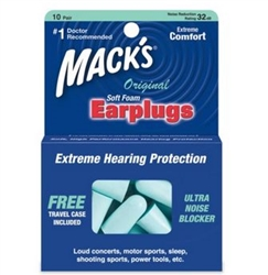 Mack's Original Soft Foam Ear Plugs, Blue, 10 Pairs with Travel Case