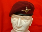 PARA Beret + Parachute Regiment Beret Badge ( Maroon Leather Banded Silk lined beret )