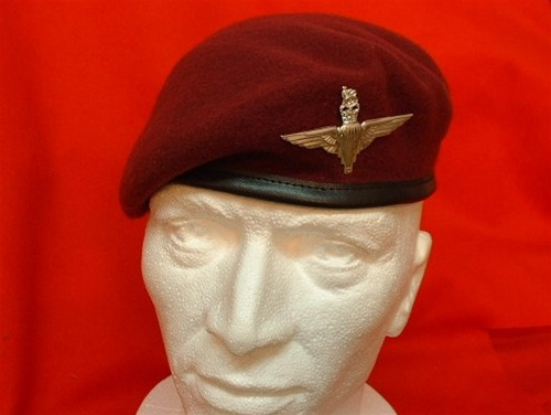 4734eeec7f2d1 PARA Beret + Parachute Regiment Beret Badge ( Maroon Leather Banded Silk  lined beret )