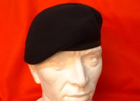 Military Navy Beret ( Leather Banded Silk Lined Dark Blue Beret ) Army  Berets