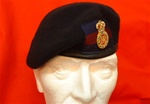 Officers Leather Banded Silk Lined Blues & Royals Beret + RHG/D Officers Bullion Wire Hand Embroidered Beret Badge