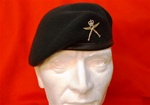 Leather Banded Silk Lined Gurkha Beret ( Rifle Green Beret ) + Metal Gurkha Beret Badge