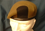 Quality Royal Anglian Regiment Leather Banded Silk Lined Beret + Black Patch