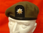 Quality Royal Anglians OR`S Beret Leather Banded Silk Lined