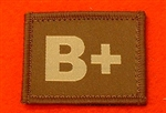 Desert Blood Group Patch B+ ( Sand Combat B+ Badge ) Velcro Backed