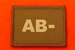 Desert Blood Group Patch AB- ( Sand Combat AB- Badge ) Velcro Backed