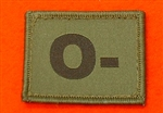 O- Combat Blood Group Patch ( Velcro Backed ) Olive Green O- Badge