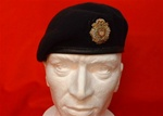 Officers Royal logistic Corps Beret + RLC Bullion Wire beret  Badge ( RLC Officers Leather Banded Silk Lined Military Beret )