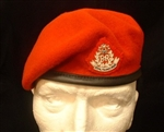 Officers RMP Beret + Bullion Wire RMP Beret Badge ( High Quality Leather Banded Silk lined Red RMP Officers Berets )