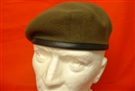 Khaki Leather Banded Silk Lined Beret ( Khaki Military Beret )