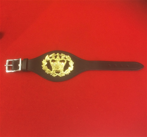 Military Rank Wrist Strap Made With Real Leather For  Rank Badges Black