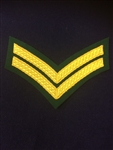 Royal Marines CPL Chevron Gold and Green Backed Lovat Stripe