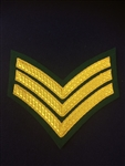 Royal Marines Sergeant Chevron Gold and Green Backed Lovat Stripe