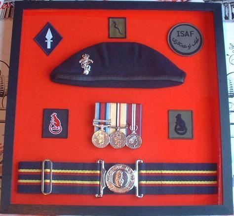 Design 39 Black Wood Military Medal Box Frame ( REME Beret & Stable Belt  Style )