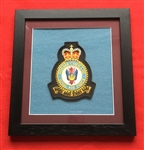 RAF Bomber Command   Embroidered Crest Queen's Crown in Black Wood Frame