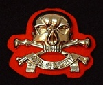 Queens Royal  lancers Metal Beret Badge Red Backing