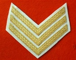 Mess Dress Sergeants Chevrons ( SGT Stripes Gold on White )