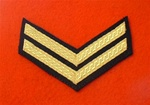 Mess Dress Corporal Chevrons Gold on Black
