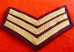 Number 1 Dress Para Sergeant Chevrons ( SGT PARA NO 1 Dress Tapes Gold on Maroon )