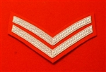 Silver Corporal Chevrons CPL Stripes ( Red )