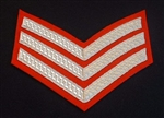 Sergeant Number 1 Dress Silver Chevrons ( 3 Bar Silver Stripes )