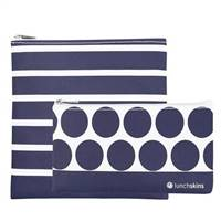 LunchSkins Reusable Zippered 2 Pack Bag Set Navy Stripe