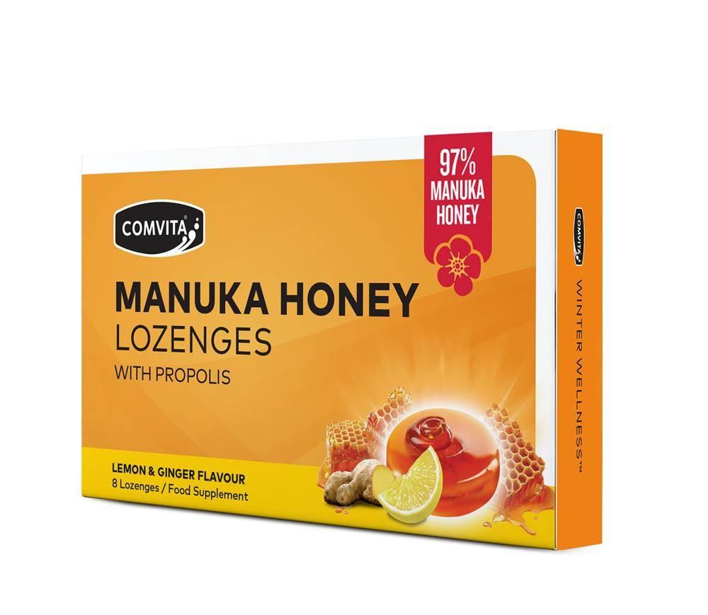 Comvita Manuka Honey with Propolis Lemon & Ginger 8 Lozenges