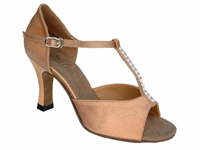 Style 1609 Brown Satin & Stone - Women's Dance Shoes | Blue Moon Ballroom Dance Supply