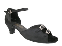 Style 1620 Black Satin Cuban Heel - Women's Dance Shoes | Blue Moon Ballroom Dance Supply