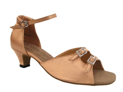 Style 1620 Brown Satin Cuban Heel - Women's Dance Shoes | Blue Moon Ballroom Dance Supply
