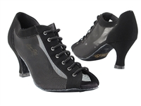 Style 1643 Black Nubuck & Black Mesh - Women's Dance Shoes | Blue Moon Ballroom Dance Supply