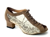 Style 1643 Brown Nubuck & #47 Mesh Cuban Heel - Women's Dance Shoes | Blue Moon Ballroom Dance Supply