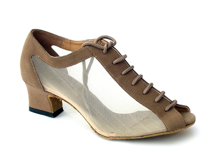 Style 1643 Brown Nubuck & Flesh Mesh Cuban Heel