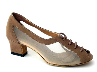 Style 1644 Brown Nubuck & Flesh Mesh Cuban Heel - Women's Dance Shoes | Blue Moon Ballroom Dance Supply