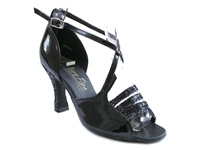 Style 1651 Black Sparkle & Black Patent - Women's Dance Shoes | Blue Moon Ballroom Dance Supply