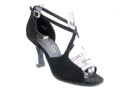 Style 1651 Silver Leather & Black Nubuck - Women's Dance Shoes | Blue Moon Ballroom Dance Supply