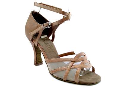 Style 1657 Brown Satin & Flesh Mesh - Women's Dance Shoes | Blue Moon Ballroom Dance Supply