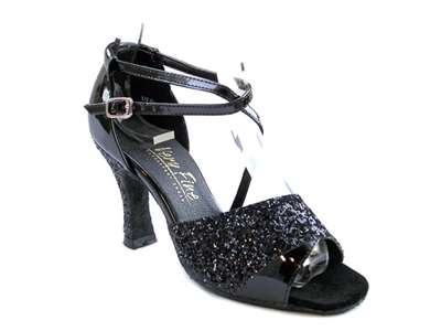 Style 1659 Black Sparkle (H) & Black Patent - Women's Dance Shoes | Blue Moon Ballroom Dance Supply