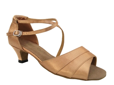 Style 1659 Brown Satin Cuban Heel - Women's Dance Shoes | Blue Moon Ballroom Dance Supply