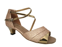 Style 1659 Gold Stardust & Gold Leather Cuban Heel
