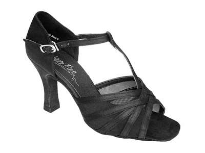 Style 16612 Black Satin & Black Mesh - Women's Dance Shoes | Blue Moon Ballroom Dance Supply