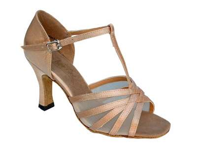Style 16612 Brown Satin & Flesh Mesh - Women's Dance Shoes | Blue Moon Ballroom Dance Supply