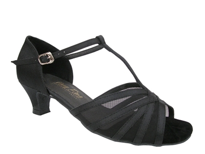 Style 16612 Black Satin Black Mesh Cuban Heel - Women's Dance Shoes | Blue Moon Ballroom Dance Supply