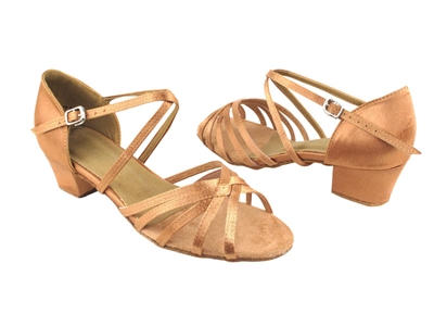 Style 1670C Tan Satin Cuban Heel - Women's Dance Shoes | Blue Moon Ballroom Dance Supply