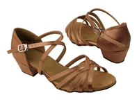 Style 1670CG Girls Brown Satin - Girls Dance Shoes | Blue Moon Ballroom Dance Supply