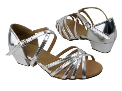 Style 1670CG Girls Silver Leather - Girls Dance Shoes | Blue Moon Ballroom Dance Supply