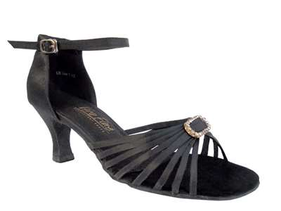 Style 1671B Black Satin & Stone - Women's Dance Shoes | Blue Moon Ballroom Dance Supply
