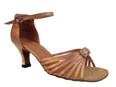 Style 1671B Brown Satin & Stone - Women's Dance Shoes | Blue Moon Ballroom Dance Supply